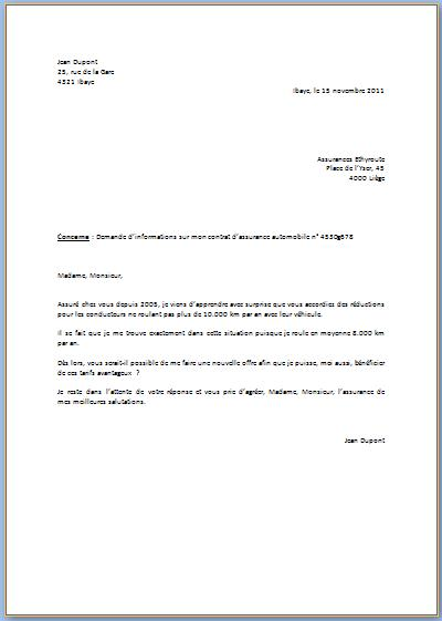 lettre officielle exemple