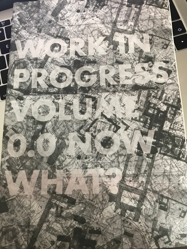 "Cover of the zine called ""work in progress vol 0.0 now what?"""