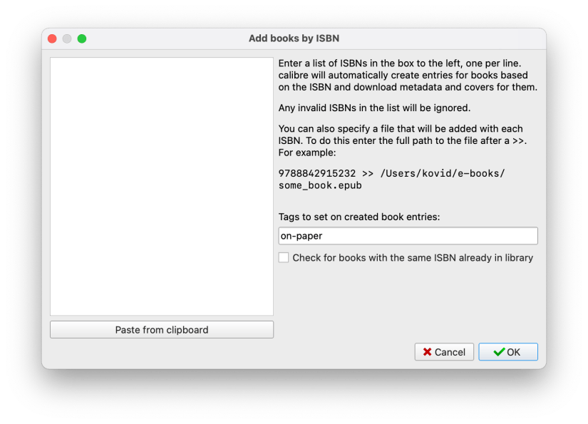 Calibre menu screen for adding ISBNs for import.