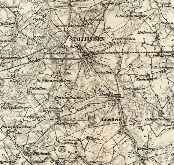 Groß Wannagupchen (mitte) auf der Karte KDR 100 Nr.54 Stallupönen um 1893 (Maßstab von 1:100.000)