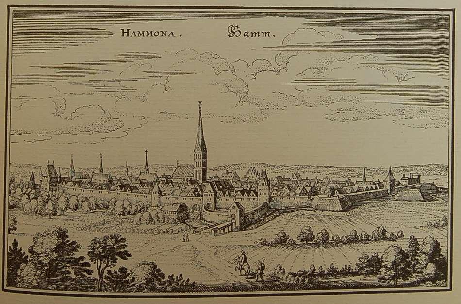 """Stadtansicht von Hamm aus dem Werk """"Topographie Westphaliae"""" von Matthäus Merian"""