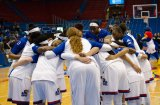 The women's basketball game huddles before the game against Fort Hays State on Oct. 30 at Allen Fieldhouse. The Jayhawks won 98-71. Ashley Hocking/KANSAN