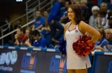Rock Chalk Dancer Allie Walters, a junior from Lincoln, Nebraska, stands on the sidelines at the women's basketball game against Fort Hays State on Oct. 30. The Jayhawks won 98-71. Ashley Hocking/KANSAN