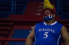 A fan watches the game at the women's basketball game against Fort Hays State on Oct. 30. KU won 98-71. Ashley Hocking/KANSAN