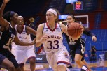 Sophomore Kylee Kopatich, a guard from Olathe, maintains control of the ball during the women's basketball game at Allen Fieldhouse on Nov. 23 against Oral Roberts University. The Jayhawks won 64-56. Ashley Hocking/KANSAN