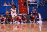 Guard Jayde Christopher, a sophomore from Federal Way, Wash., dribbles the ball up the court during the first half of the women's basketball game on Nov. 27. Kansas beat North Dakota 76-71 in overtime. Ashley Hocking/KANSAN