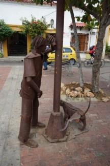 Stadtviertel Getsemani - Stahlfiguren amPlazuela del pozo