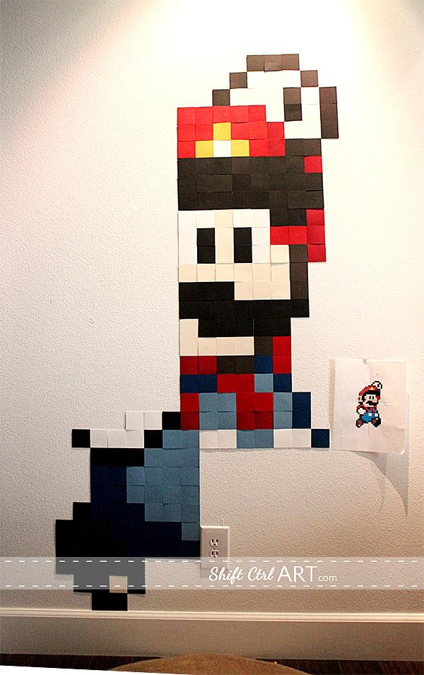 Pixel wall art  Mario gets SUPER sized