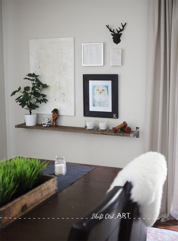 diy shelves in living room beautiful rooms with fireplaces barnwood and ikea bracket shelf ekby dining
