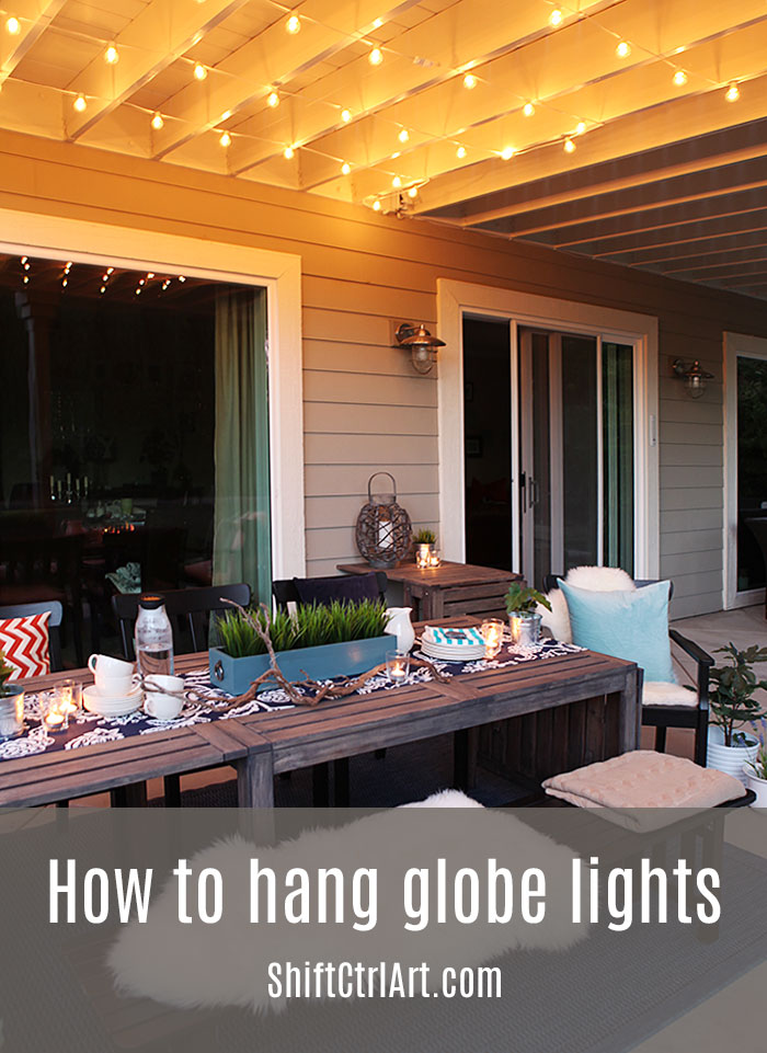 How To Hanging Globe Lights Over The Patio Dining Area