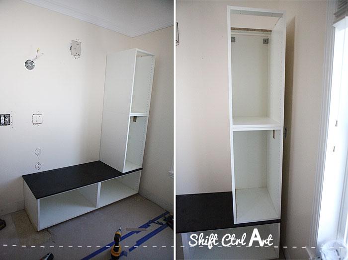 Master bath progress Shortened builtin IKEA seating