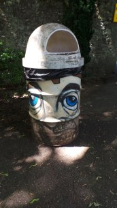 Spray painted garbage can in Geneva