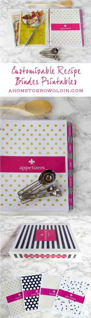 Check out these free Kate Spade inspired recipe binder printables! I love that they can be customized with your name and will help keep all your recipes organized in one place. What a great help when it comes to weekly menu planning!