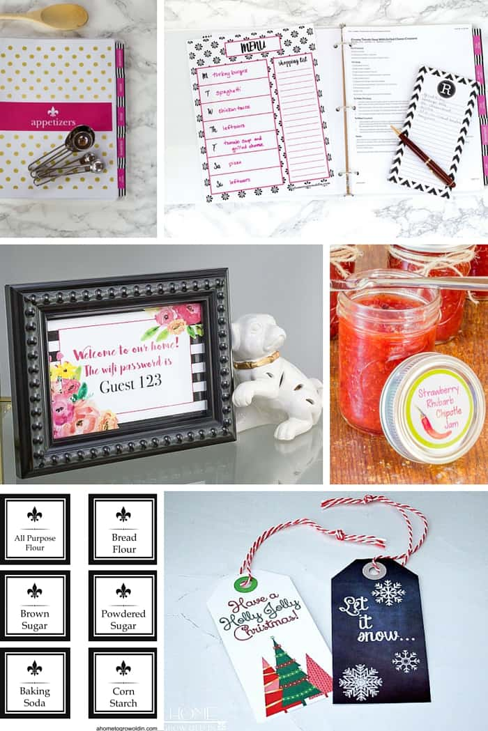 Check out this free printables library that includes a customizable recipe binder, pantry and spice labels, gift tags, and so much more for all over your home!