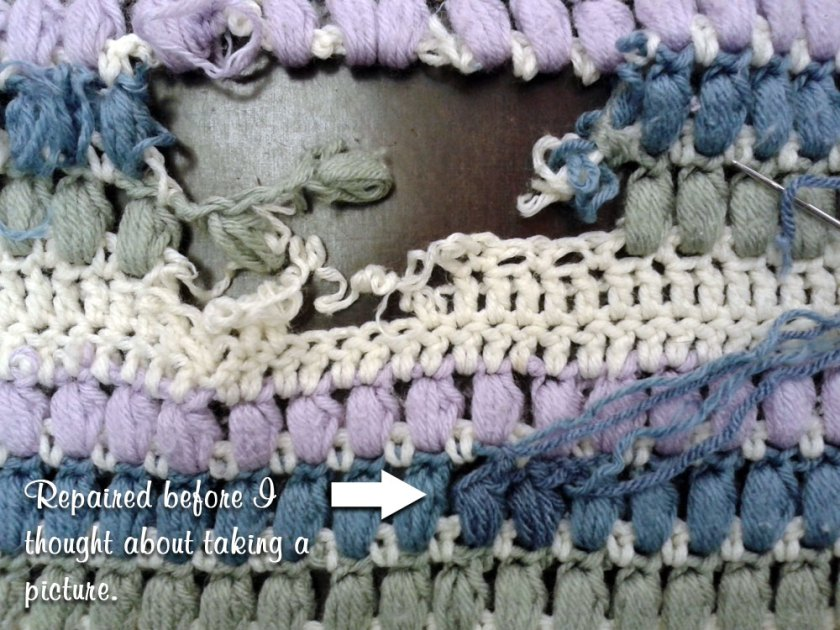 Crochet Afghan Repair: Before