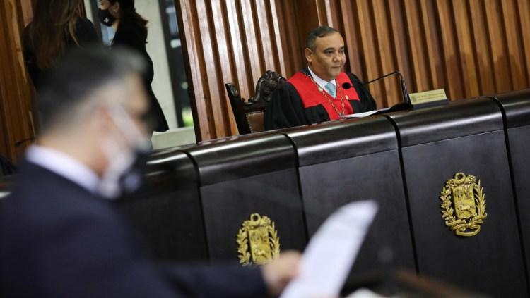 Presidente del Tribunal Supremo de Venezuela, Maikel Moreno, habla con los medios. 21 de septiembre de 2020