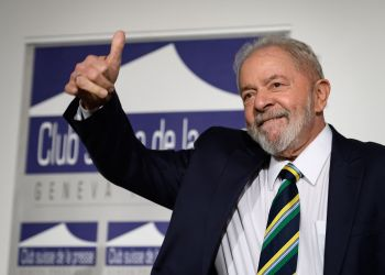 "(FILES) In this file photo taken on March 06, 2020 Former Brazilian president Luiz Inacio Lula da Silva gives a thumb up during an event titled: ""Dialogue about inequality with global unions and general public"" at the Geneva Press Club in Geneva. - A Brazilian Supreme Court judge overturned the graft convictions against former president Luiz Inacio Lula da Silva on March 8, 2021, clearing the way for the left-wing leader to run in the 2022 presidential election. (Photo by Fabrice COFFRINI / AFP)"