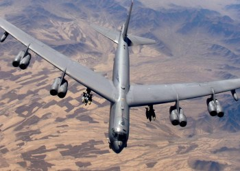 A B-52 Stratofortress, flown by Capt. Will Byers and Maj. Tom Aranda, prepares for refueling over Afghanistan during a close-air-support mission in this undated handout photo.   U.S. Air Force/Master Sgt. Lance Cheung/Handout via REUTERS   ATTENTION EDITORS - THIS IMAGE HAS BEEN SUPPLIED BY A THIRD PARTY.  To match Special Report USA-CHINA/BOMBERS