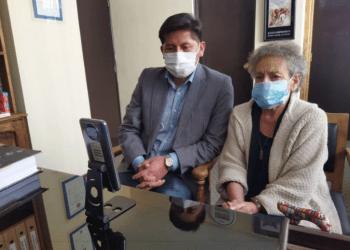 El médico Jhiery Fernández, durante la audiencia virtual en la que se dictó sentencia absolutoria. / Foto: Página Siete