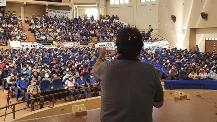 Evo Morales en el congreso campesino, este viernes. / Foto: Twitter Evo Morales