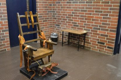 This March 2019 photo provided by the South Carolina Department of Corrections shows the state's electric chair, in Columbia, S.C. South Carolina is trying to restart executions in the state by dusting off the electric chair after going nearly 10 years without putting a condemned inmate to death. A House Committee voted 14-7 on Tuesday, Feb. 23, 2021, to make electrocution the default for an execution. (Kinard Lisbon/South Carolina Department of Corrections via AP)