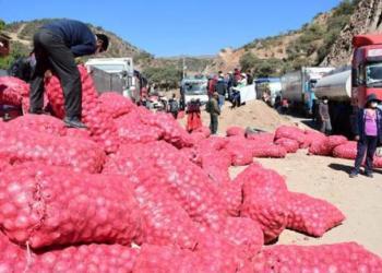 Productores bloquean la carretera al occidente del país en el sector de Parotani. | Daniel James