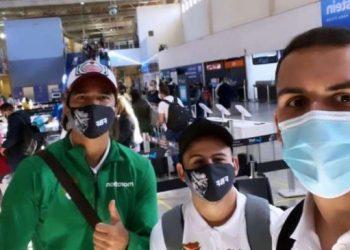Marcelo Martins, Luis Haquin y Henry Vaca viajaron este martes desde Goiania hasta Cuiabá