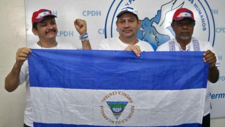 Medardo Mairena, Pedro Mena y Freddy Navas en Managua. El aspirante presidencial Mairena, así como los dirigentes Mena y Navas se encuentran entre los cinco opositores al gobierno del presidente nicaragüense Daniel Ortega. AFP
