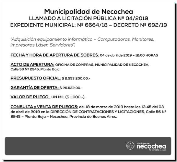 NECOCHEA: El municipio adquirirá equipamiento informático