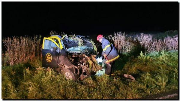 Trágico choque en la ruta 55 entre un taxi y un auto particular: dos muertos