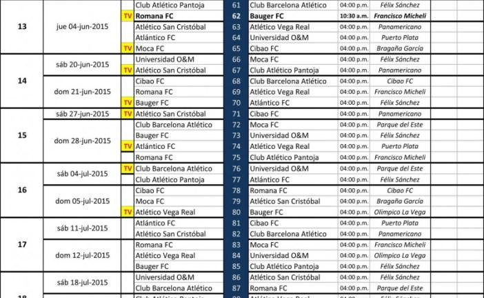 Calendario de la Liga Dominicana de Fútbol que inicia este próximo domingo