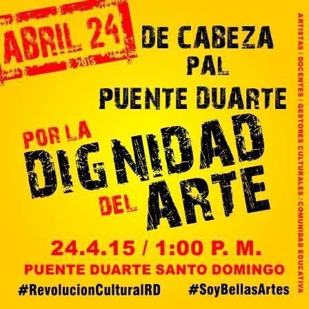 Artistas y docentes harán protesta en el Puente Duarte