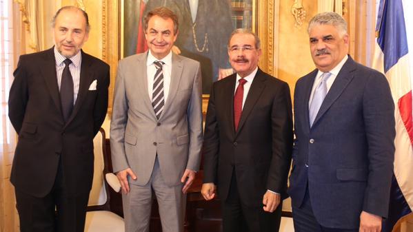 Danilo recibe a Rodríguez Zapatero y a Miguel Vargas Maldonado