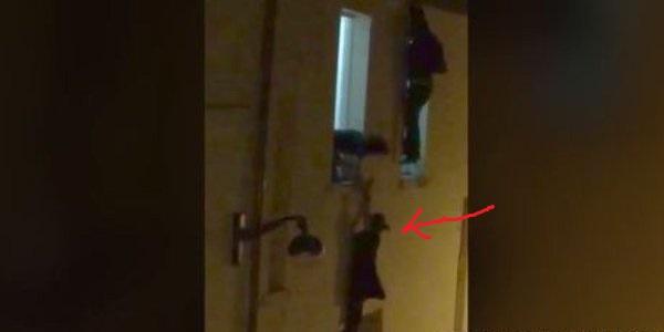 París. Embarazada que colgaba de una ventana encuentra su héroe