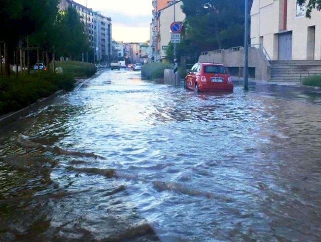 Milán bajo el agua.