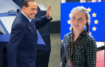 Silvio Berlusconi y Greta Thunberg.