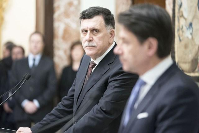 Fayez al Sarraj y Giuseppe Conte.