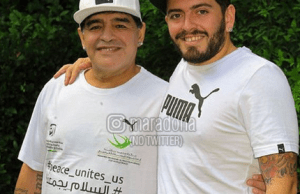 Diego Maradona y su hijo.