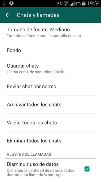 Ajustes de llamadas de WhatsApp