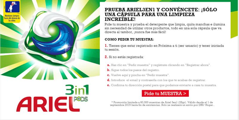 60.000 Muestras gratis de Ariel 3 en 1 Pods