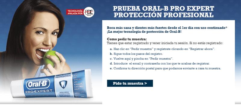 Muestras gratis de dentífrico Oral B