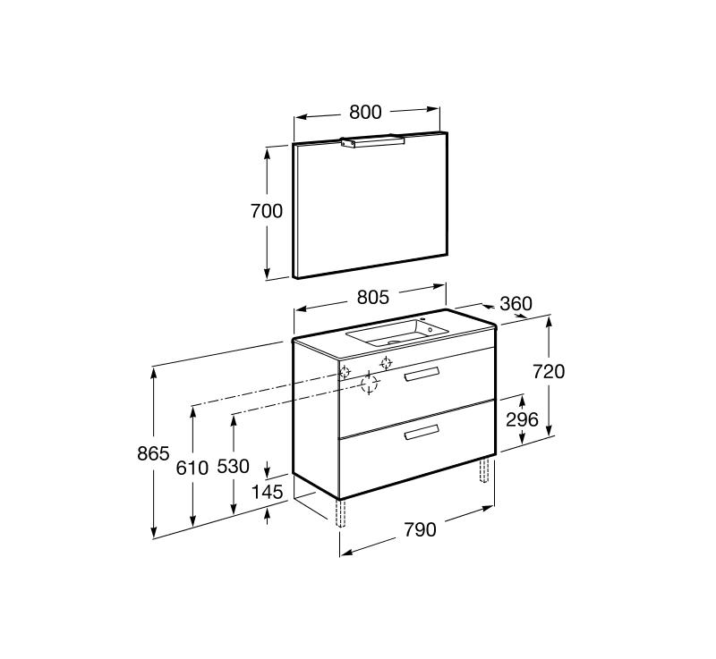 Pack Debba Roca mueble base compacto cajones lavabo