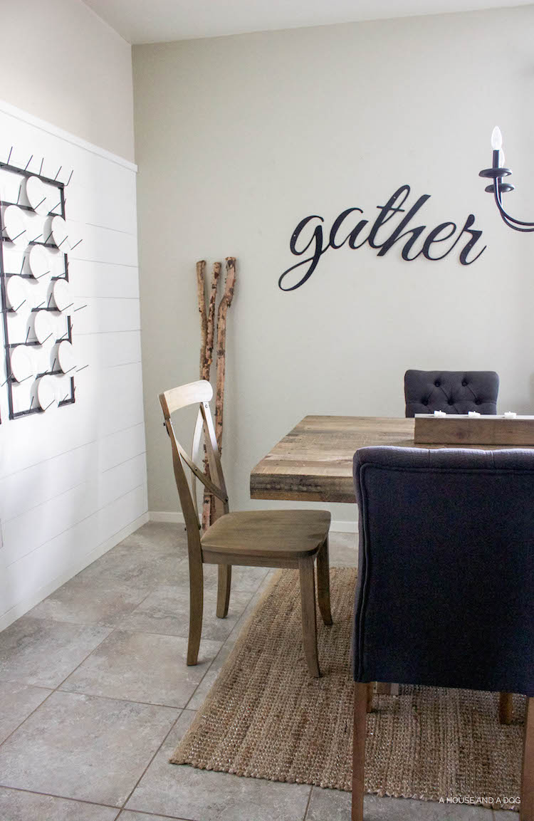 Simple Fall Decor and Gather sign | ahouseandadog.com