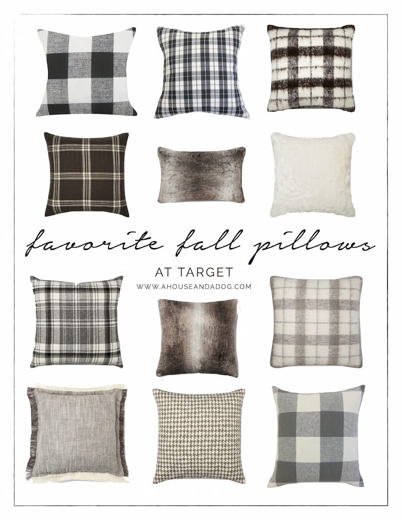 Fall Pillows - plaid, herringbone, houndstooth, buffalo check and fur! Some of my favorites from Target. | ahouseandadog.com
