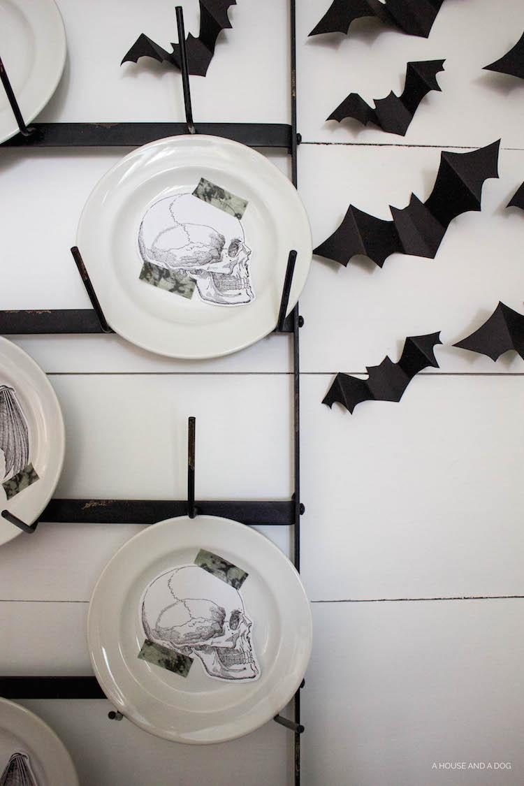Halloween Dining Room & Bat Wall DIY | ahouseandadog.com