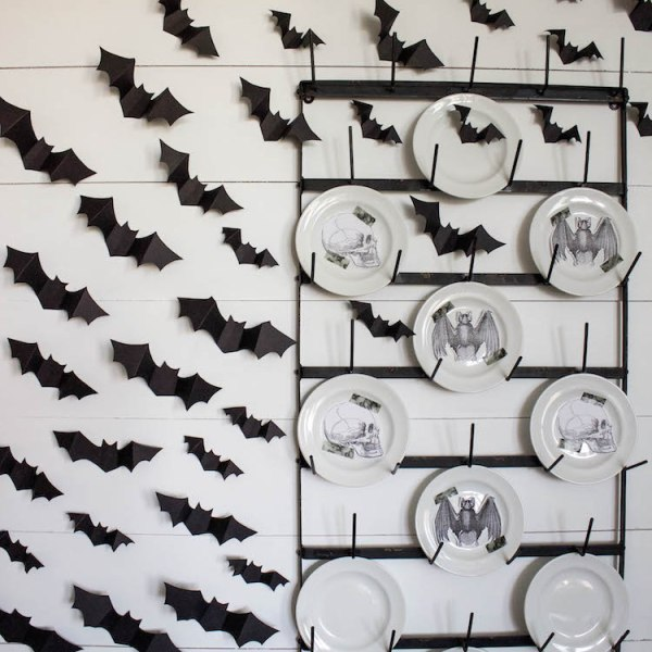 Halloween Dining Room & DIY Halloween Bat Wall | ahouseandadog.com