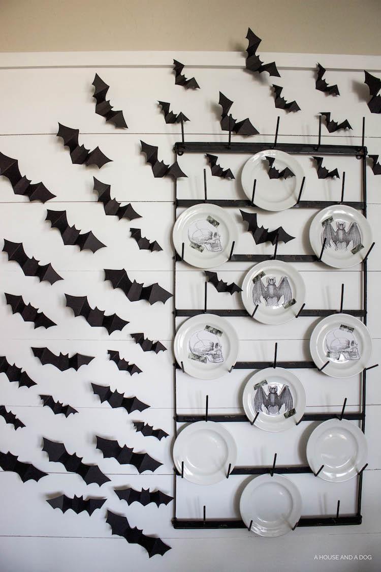 Halloween Dining Room & DIY Halloween Bat Wall | ahouseandadog.com