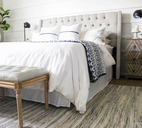 Blue & White Bedroom - DIY Horizontal Board & Batten Wall, DIY Painted Headboard & Bench, DIY Ikea Tarva Hack   One Room Challenge   ahouseandadog.com