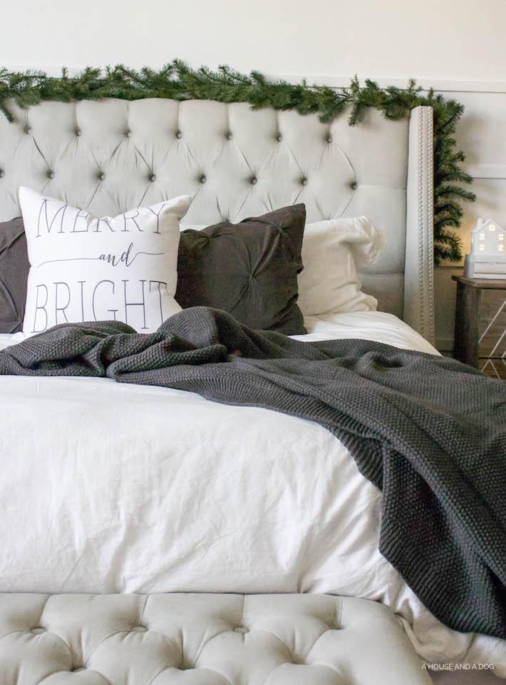 Simple White & Gray Christmas Bedroom 2016 | ahouseandadog.com