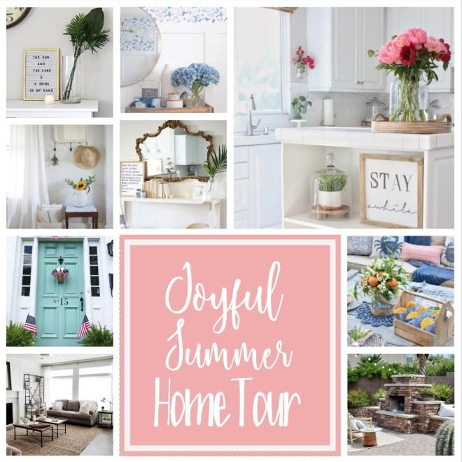 Joyful Summer Home Tour Collage big pink square